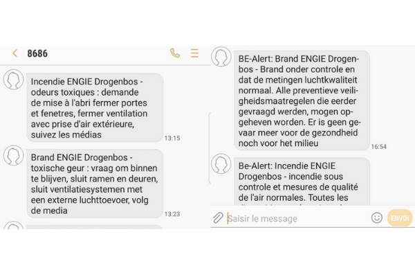 Belgium: Location-based SMS to inform of an ongoing fire in an electric plant with potential toxic smoke