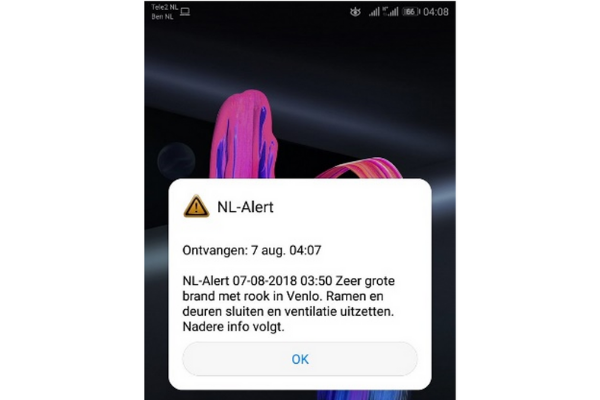Netherlands: Cell-Broadcast alert about a fire