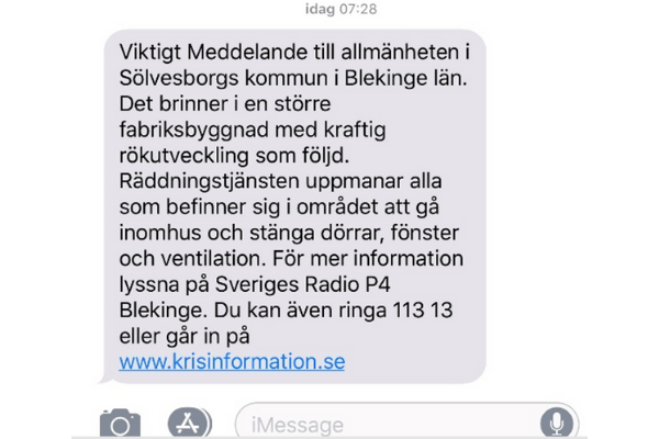 Sweden: Location-based SMS about a fire
