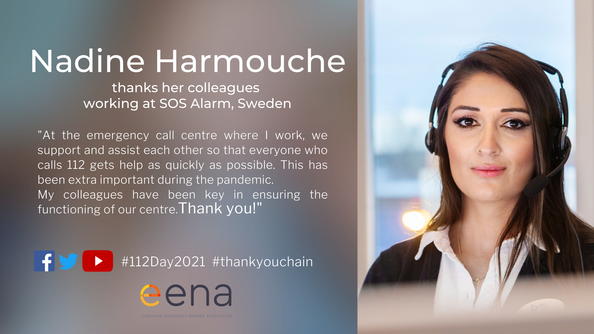 Nadine Harmouche thanks her colleagues at SOS Alarm, Sweden